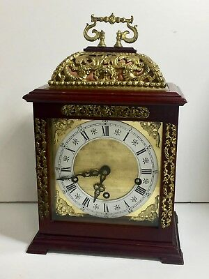 VINTAGE 1960s RAPPORT OF LONDON 3 TRAIN WESTMINSTER BASKET TOP BRACKET CLOCK VGC