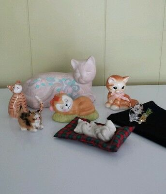 VINTAGE CAT FIGURINES LOT OF 7  Pre-Owned Ceramic, Bone china, crystal