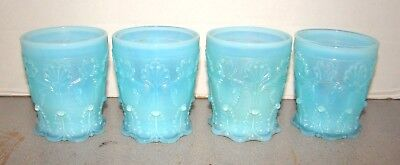 Antique French Blue Opaline Glass 4 Lacy Tumblers Baccarat St. Louis