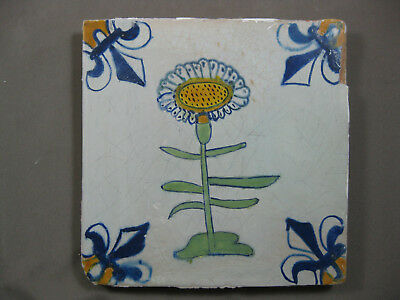 Antique Dutch flower tile polychrome 17th century - free shipping