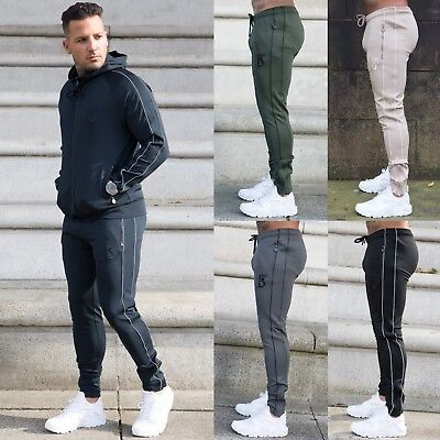 Bound By Honour Mens Tracksuit Bottoms Slim Fit Joggers Polyester Gym Sweatpants