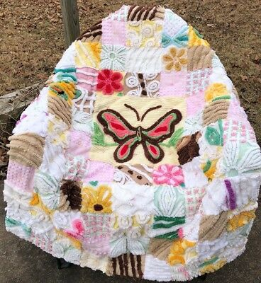 SCQ Handmade Chenille Baby Quilt Butterfly Center Pink Yellow Chocolate