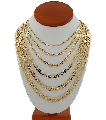 Men's Mariner link Chain Necklace 14k Gold Plated 3mm to 9mm inch