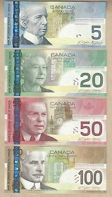 Bank of Canada Journey Series $100, $50, $20 & $5 Notes in GEM UNC