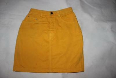 FOUR SEASONS Vintage 80s CANARY YELLOW Denim HIGH WAISTED SKIRT Rad New Wave  6