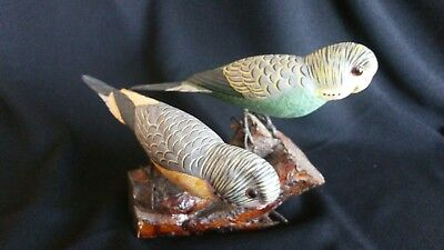 DOUBLE PARAKEETS/BUDGIES WOOD CARVED  HAND PAINTED FIGURINE~one green one blue