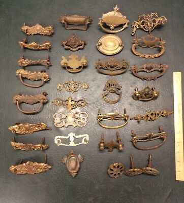 Miscellaneous Lot of 31 Antique Brass and Iron Ornate Drawer Pulls Handles