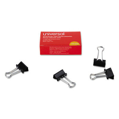 "Universal Small Binder Clips, 3/8"" Capacity, 3/4"" Wide, Black, 12/Bx"