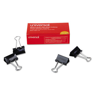 "Universal Medium Binder Clips, 5/8"" Capacity, 1 1/4"" Wide, Black, 12/Bx"
