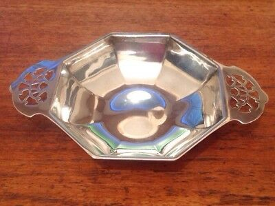 """Solid Silver Dish As Shown With  Pierced Handles. 6"""" Wide. Viner Sheffield. 1933"""