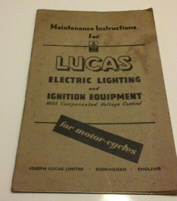 Lucas Motorcycle Electric Lighting & Ignition Equipment Booklet Manual