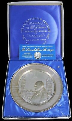 Antique Sterling Silver Winston Churchill Hour Of Decision Presentation Plate !!