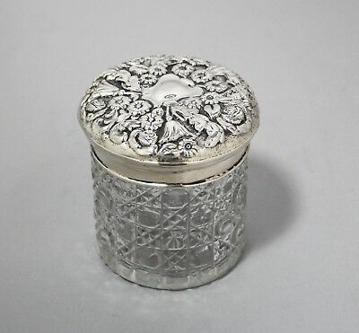 Chester sterling silver cut glass large vanity jar George Nathan & Ridley Hayes