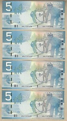 Bank of Canada Journey Notes in Sequence $5 x 5 (No Sec Strip) & $5 x 4 (w/ Sec)
