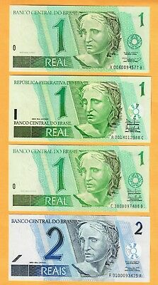 Brazil  1,2,5,10,10,20 Real Unc (8 Note Bank)