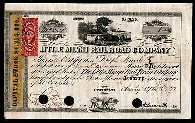 1871 Cincinnati - Little Miami Railroad Co -  Original Genuine stock certificate