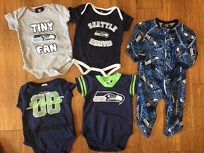 Seattle Seahawks Baby Onsies Pjs NFL 0-3 3-6 Mo Lot of 5 Clothes