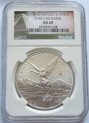 2014-MO Mexico S1ONZA - NGC MS 69 Early Releases Silver 1 oz Libertad  (141632X)
