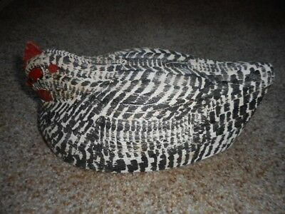 """Black & White Carved Wood Chicken w/ Glass Eyes Signed WEK - 10"""""""