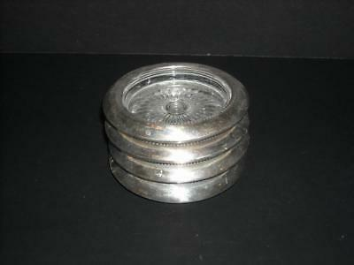 Set of 4 Vintage Sterling Silver Glass Coasters Stackable