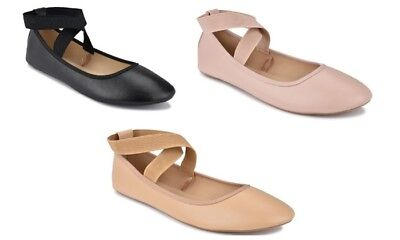 New Women Mary Jane Ankle Strap Ballet Flats Criss Cross Shoes Black,Taupe Nude