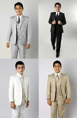 Boys 5 Piece Suit Kids Formal Dress Toddler Suits Outfit Set With Vest Tie Shirt