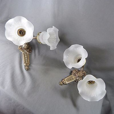 Gorgeous Pair of French Antique Bronze Candle Wall Sconces Lights w/Tulip Lamp