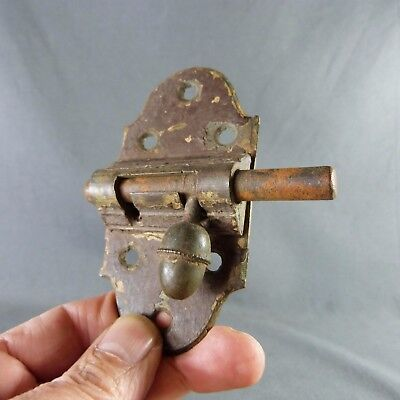 French Antique, Iron Slide. Round Bolt Latch Lock Rustic, Handmade