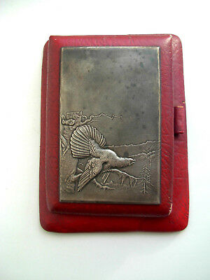 Antique Russian Soviet Notebook Cover Leather Silverplate Plaque Capercaillie