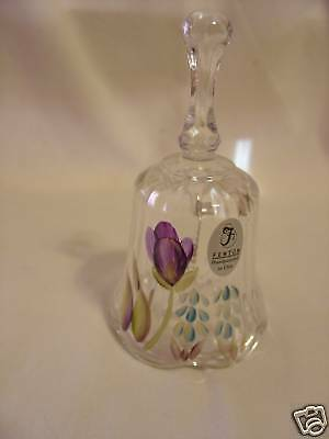 FENTON Bell Clear Ribbed Handpainted Purple Flower Brand New Decorative