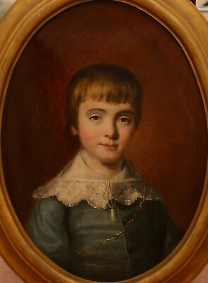 Fine Antique Early 19th Century Portrait Oil On Canvas Painting