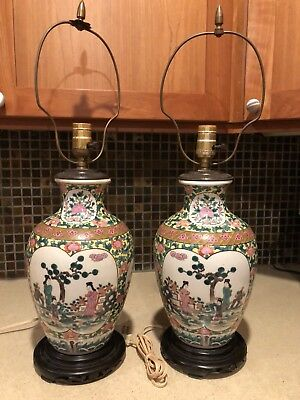 Pair Of *RARE* Vintage Chinese Qianlong Famille Rose Replica 1960s Vase Lamps