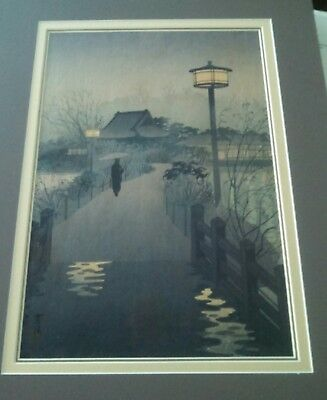 KASAMATSU SHIRO Print - Evening Rain Shinobazu Pond - Original - 1938