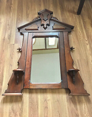 ELEGANT WOODEN 1800's VICTORIAN LARGE WALNUT ANTIQUE VANITY PIVOTING MIRROR
