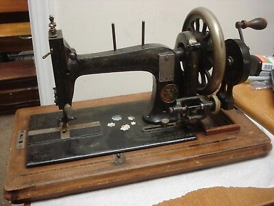 Improved Singer sewing machine c1865 antique hand crank Seidel & Naumann Dresden