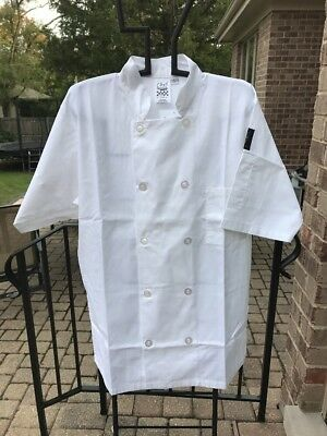 Chef Revival 24/7 Double Breasted Chef Coat White Poly-Cotton Sz Small NWT