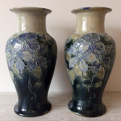 Large Antique Pair of Doulton Lambeth Art Nouveau Vases