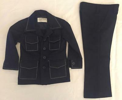 Vintage 1970s Boy's Black Polyester Suit Jacket & Flare Pants Size 5 Slim