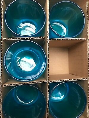 8 x Blue Clear Glass Tealight Votive Candle Holders