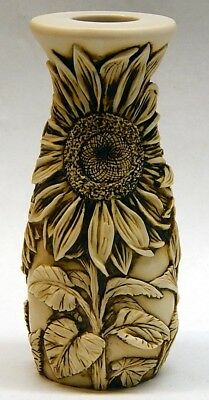 Harmony Kingdom Artst Neil Eyre Designs Vase Sunflower Bees Ivory signed & #'d