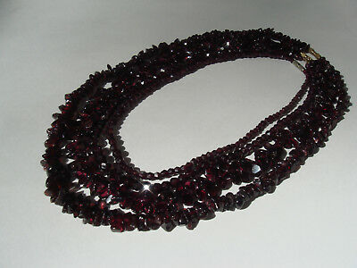 Large Lot of Vintage Bohemian Garnet Necklaces 232 grams