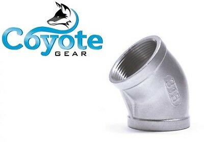 "1/8"" NPT 316 Stainless Steel Elbow 45 Degree Female Pipe Thread Coyote Gear SS"