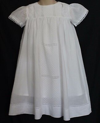 VINTAGE 1970s Girls White Embroidered Lace Dress w Cotton Shift 2-3 Christening