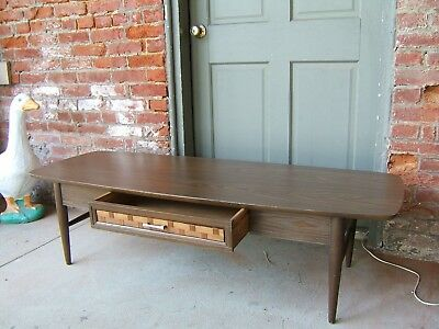A Mid-Century Modern Coffee Table Surf Board Style w/ Drawer Formica top