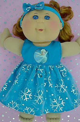 """Play n Wear Doll Clothes For 14""""Cabbage Patch SNOWFLAKE TURQUOISE DRESS~HEADBAND"""