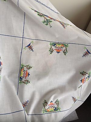 Tablecloth - Antique Hand Embroidered Supper Cloth - Antique - All Hand Made