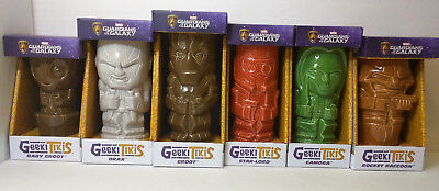 Marvel Guardians Of The Galaxy Geeki Tiki Mugs Star Lord Groot Complete Set of 6