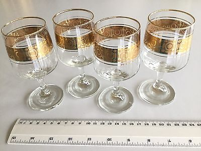 4 X Gold Banded  Sherry / Port / Liqeuer Glasses - Retro / Art Deco