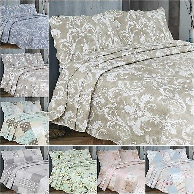 New Bedspread With 2 Pillow Cases  Bedding Duvet Throw Quilted Double and King