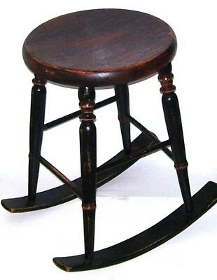 Antique Rocking Stool Wooden Old Sturdy Furniture Chair Rare Pat Applied